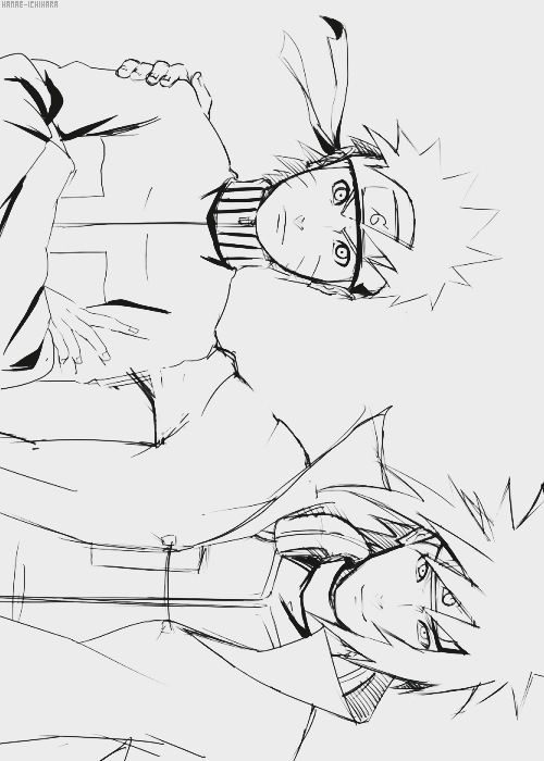 Minato and Naruto showing they mean business <- - - I love pictures of Naruto and his Dad cause it just seems so right and everything - no idea why, but they always seem to have that effect on me. Naruto always wanted to be Hokage, and he never knew about his Dad until a good bit in! Drawing is beautiful btw.