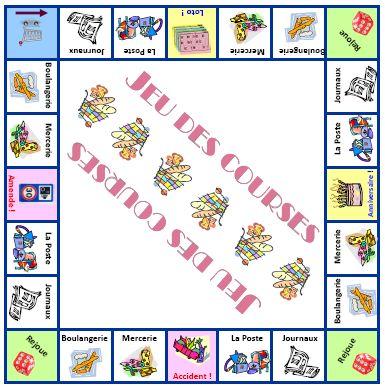 plateau du jeu des courses - vocabulaire du magasinage, expressions de quantité, faire parler les enfants de l'argent