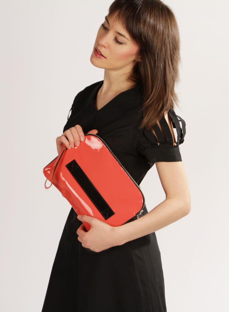Megan Pink - Handmade Leather Clutch / Leather Purse / Pink Clutch / Pink Handbag