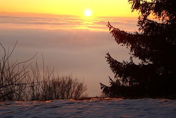 Sonnenuntergang im Mühlviertel wurde in Österreich aufgenommen