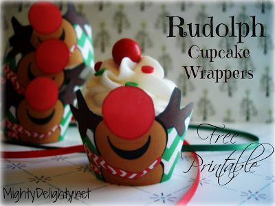 Mighty Delighty: Rudolph the Reindeer Cupcake Wrappers {{Free Printable}}