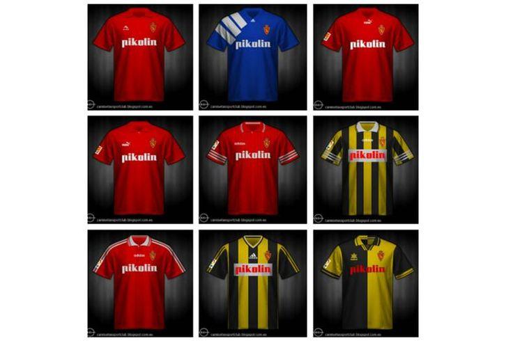 Evolución de las camisetas del Real Zaragoza