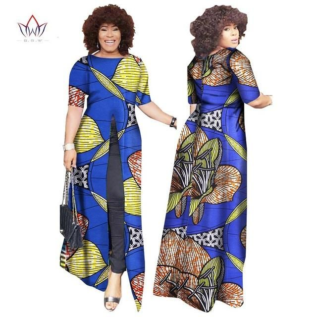 African Dashiki Straight Split Printing Long Dresses Owame11 African Fashion African Dress Printed Long Dresses