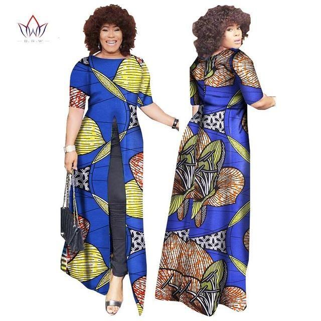 African Dashiki Straight Split Printing Long Dresses Owame11 African Fashion African Dress Printed Long Dresses