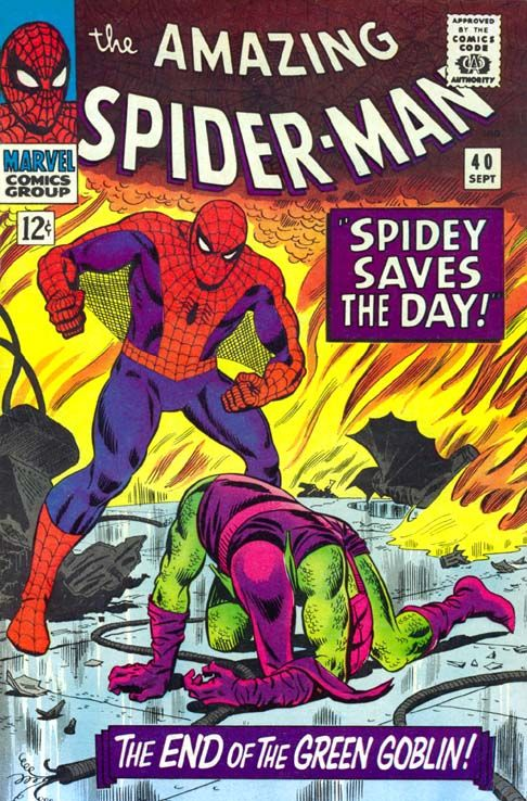 """The Amazing Spider-Man #40 (Marvel Comics Group) – """"Spidey Saves The Day!"""" – The End of The Green Goblin!"""