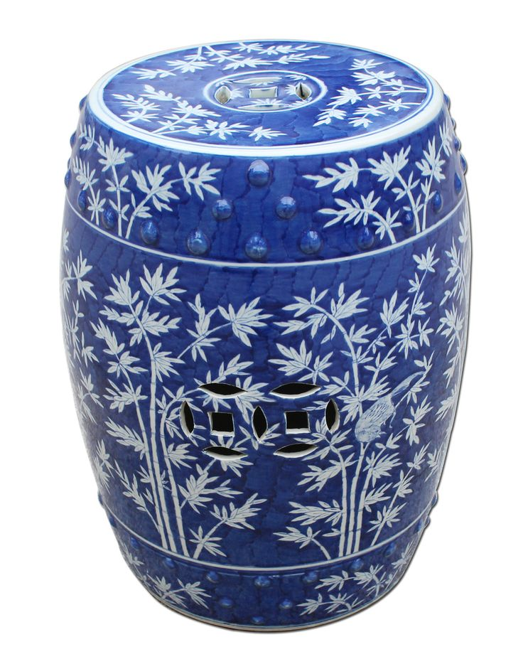 Very Pretty Blue And White Bamboo Magpie Garden Stool. Free Shipping!