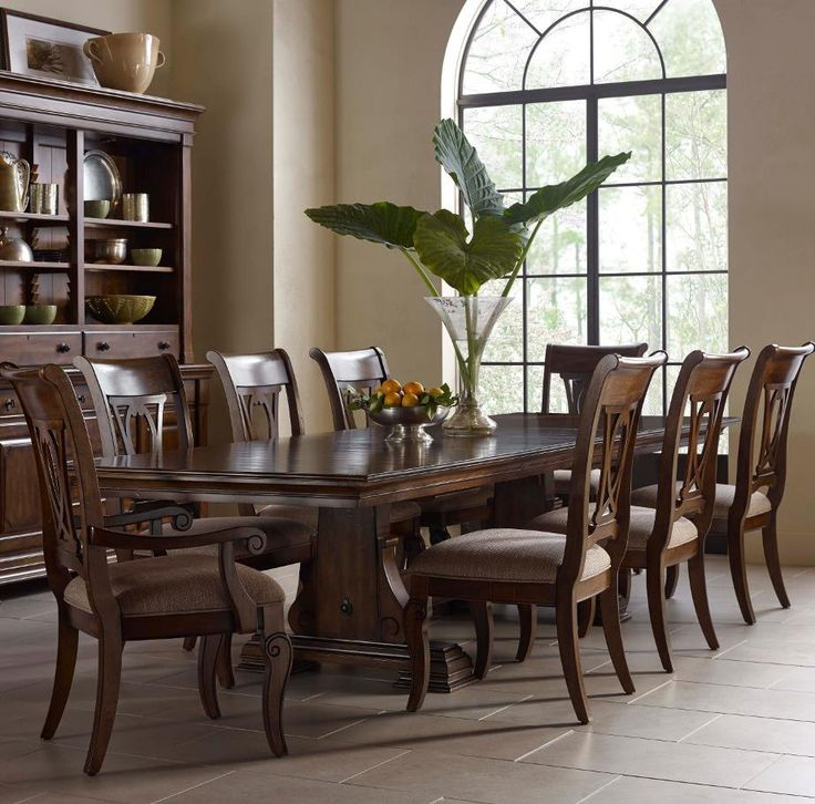 kincaid furniture portolone trestle table dining room set 8 chair wood dining table set - Dining Room Set For 8