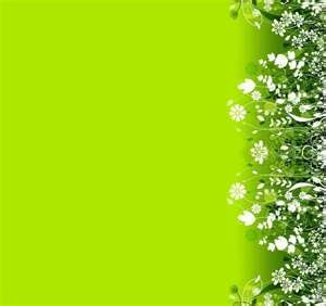 Green w/ lots of white flowers background