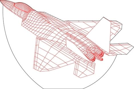 F16 airplane 3D illusion vector drawing
