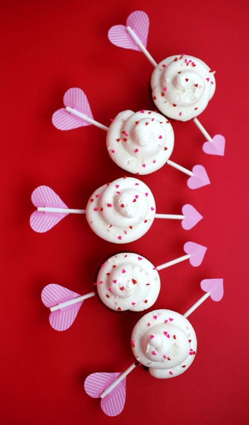 cupid's arrow red velvet cupcakes