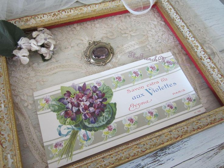 Antique French Soap Box Label - Violets TheFrenchMercer.com