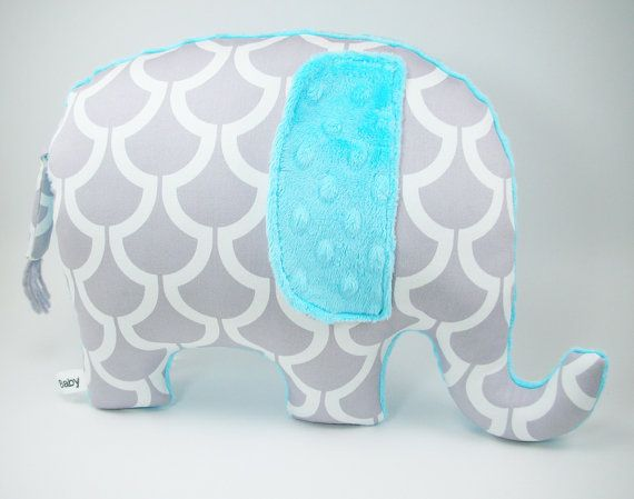 Modern turquoise nursery decor Elephant Pillow toy by bakerbaby, $33.00