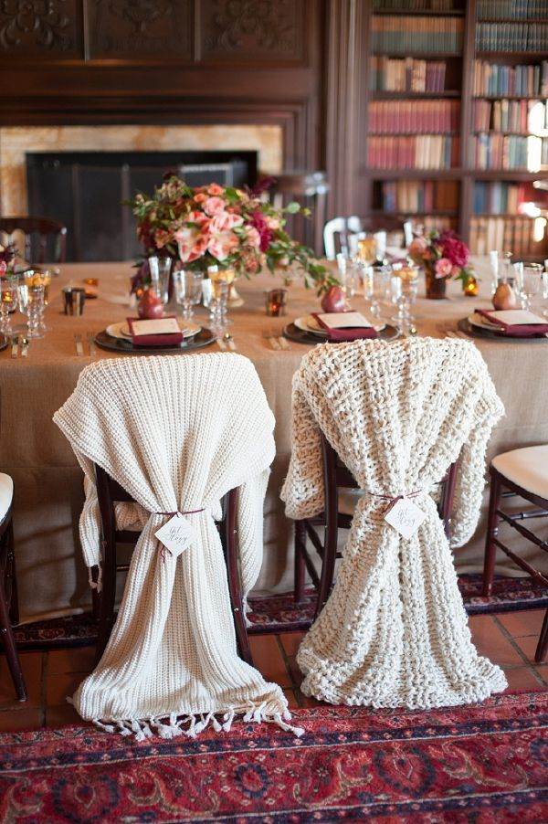 Knit Throws for the Bride and Groom Chair Decor | Rachel Menig Photography | Warm and Cozy Winter Wedding in Wine and Gold with a Little Holiday Sparkle