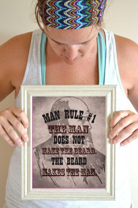Beard Art Print Man Cave Wall Decor Man Cave By