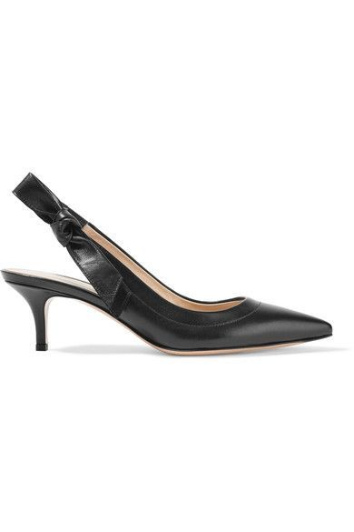 Gianvito Rossi - Bow-embellished Leather Slingback Pumps - Black - IT35.5