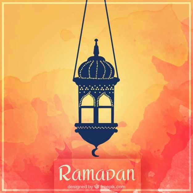Lantern on a watercolor background of ramadan Free Vector