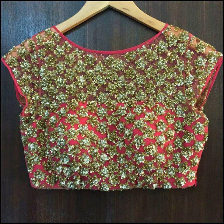Mrunalini Rao's creation ! A pink net blouse .