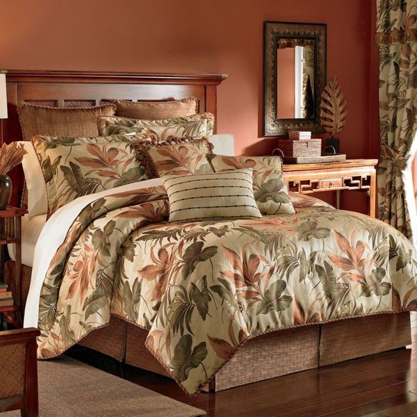 take a stroll along the beach at sunset with this lavish bali breeze comforter set inspired by the carefree romance of the tropics this pattern