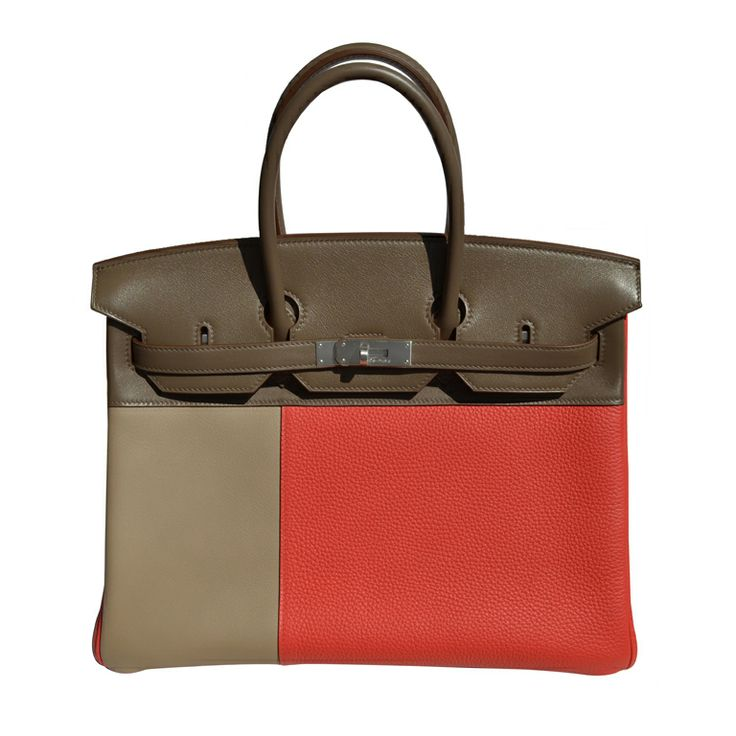 35cm Hermes Tri-Colored Leather Birkin Bag Handbag