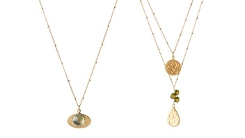 Gold Gemstone Necklaces by Sophia and Chloe by
