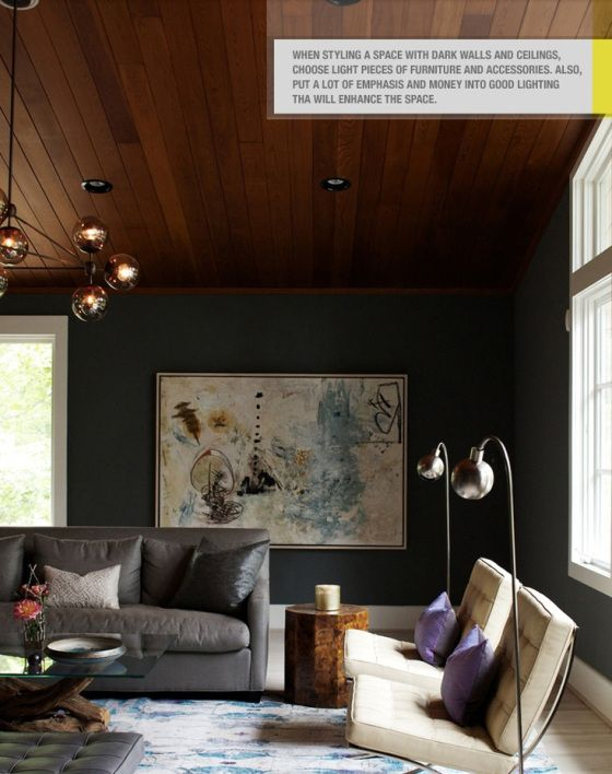 A way to integrate panelled wooden ceilings in a modern room concept.