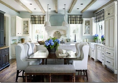 Dining room and kitchen comboIdeas, Dining Room, Kitchens Banquettes, Wings Chairs, Dining Chairs, Dreams House, Kitchens Tables, Country Kitchens, Wingback Chairs