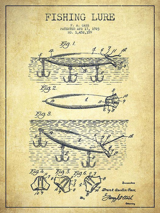 Vintage Fishing Lure Patent Drawing From 1923 Poster By Aged Pixel