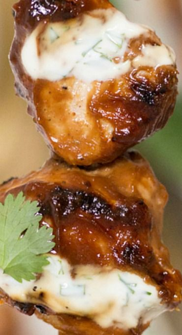 Peanut Butter Chicken Skewers with Yogurt-Dill Sauce