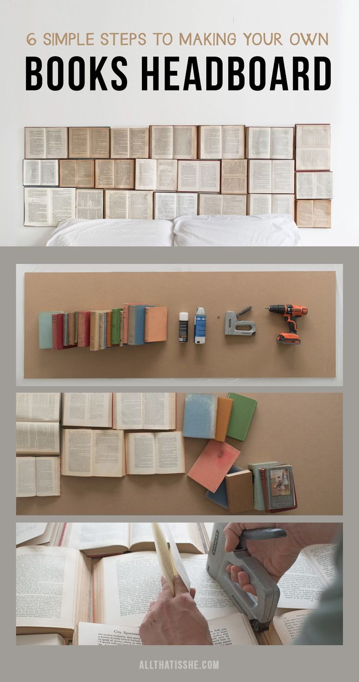 The 6 steps to follow to create your own headboard made entirely from books.