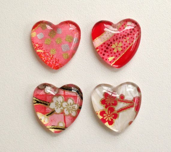 Glass Heart Magnets NEW by tannerglass on Etsy, $8.00