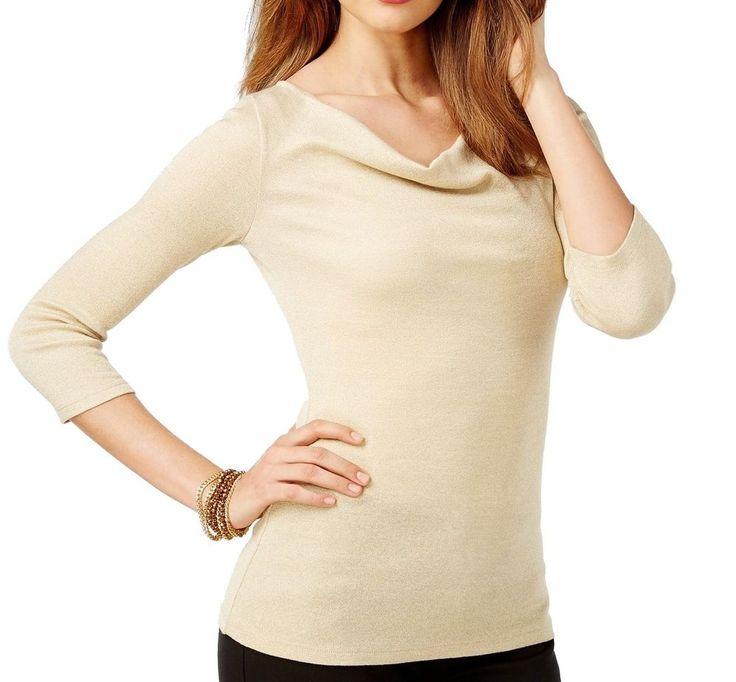 INC Gold Metallic Womens Large L Drape Cowl Neck Shimmer Knit Top Stretch $59.50 #IncInternationalConcepts #DrapeCowlNeckShimmerKnitTop #Casual