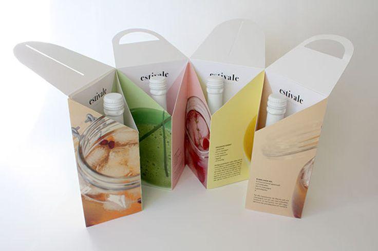 Дизайнер изСтокгольма Hanna Jansson создала дизайн иразработала конструкцию упаковки длячетырех бутылок Estivale Champagne. Оформление упаковки приятное, ноконструкция более интересна, чем оформление. Внешне упаковка напоминает простую картонную коробку сручкой, нонасамом деле этоскладывающаяся изчетырех треугольных ячеек коробка, которая может менять форму отупаковочной коробки всложенном виде, докоробки‑витрины— вразвернутом.   http://am.antech.ru/zXFj