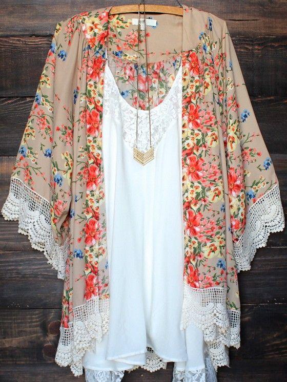 Beige Floral Print Lace 3/4 Sleeve Lace Fringe Cardigan Boho Beach Chiffon Kimono Cover Up