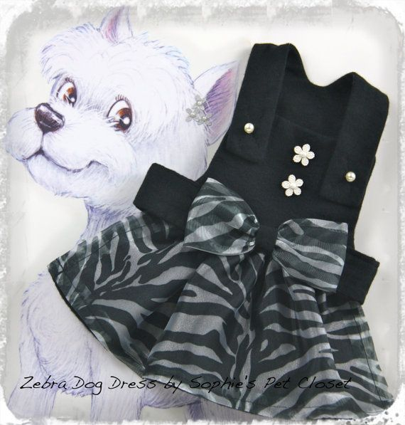 Fashion Printed Zebra Dog Dress   S M L Zebra by SophiesPetCloset, $45.00