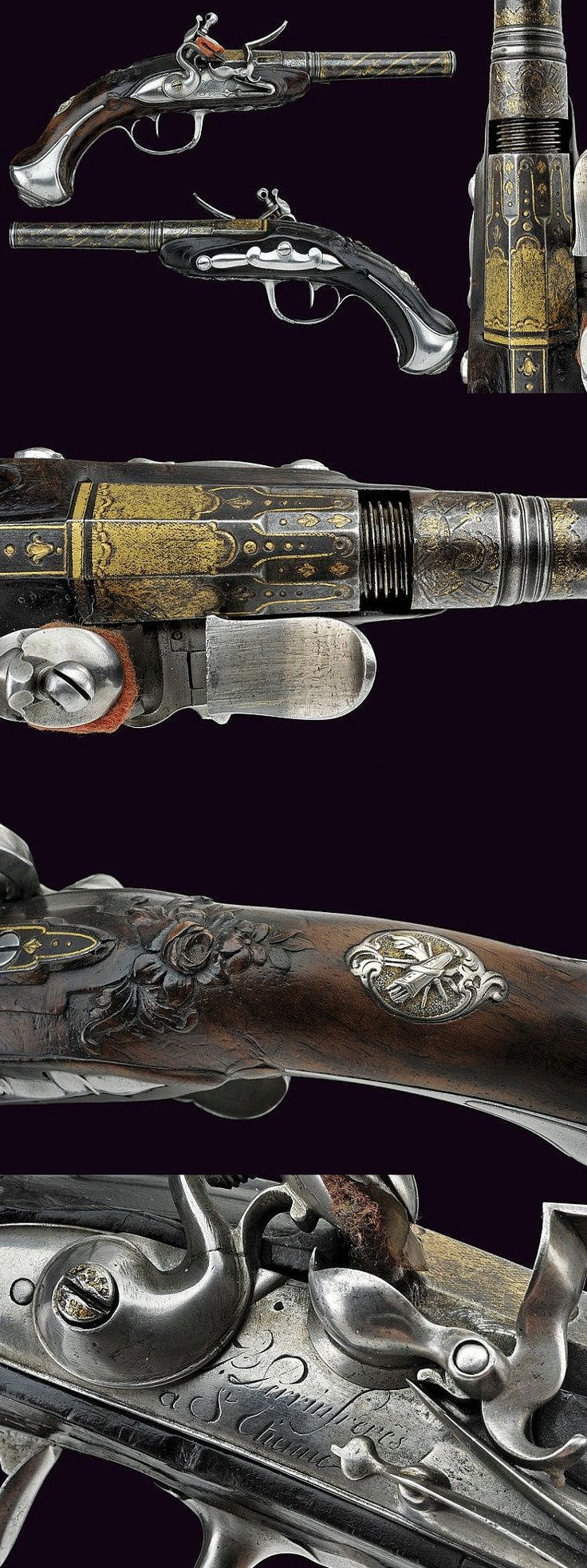 A fine pair of flintlock travelling pistols by Perrin Freres, France, 19th century.