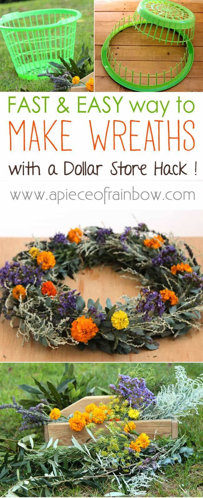 How to make wreath super fast with this dollar store hack! Turn a laundry basket into a wreath jig, plus tutorials on a flower wreath & a herb wreath!
