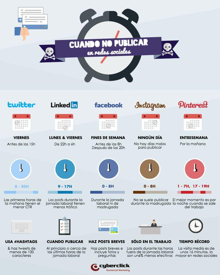 Cuando no publicar en redes sociales. Infografía en español. #CommunityManager