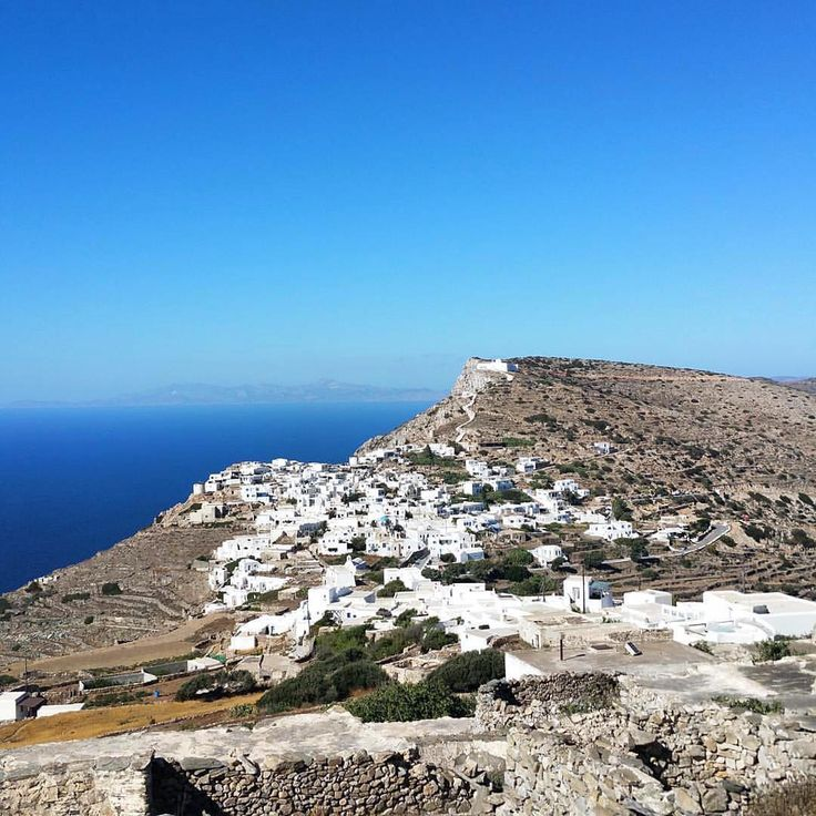island of Sikinos (Σίκινος) Chora village with the wonderful panoramic view to the Aegean Sea