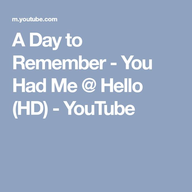 A Day to Remember - You Had Me @ Hello (HD) - YouTube