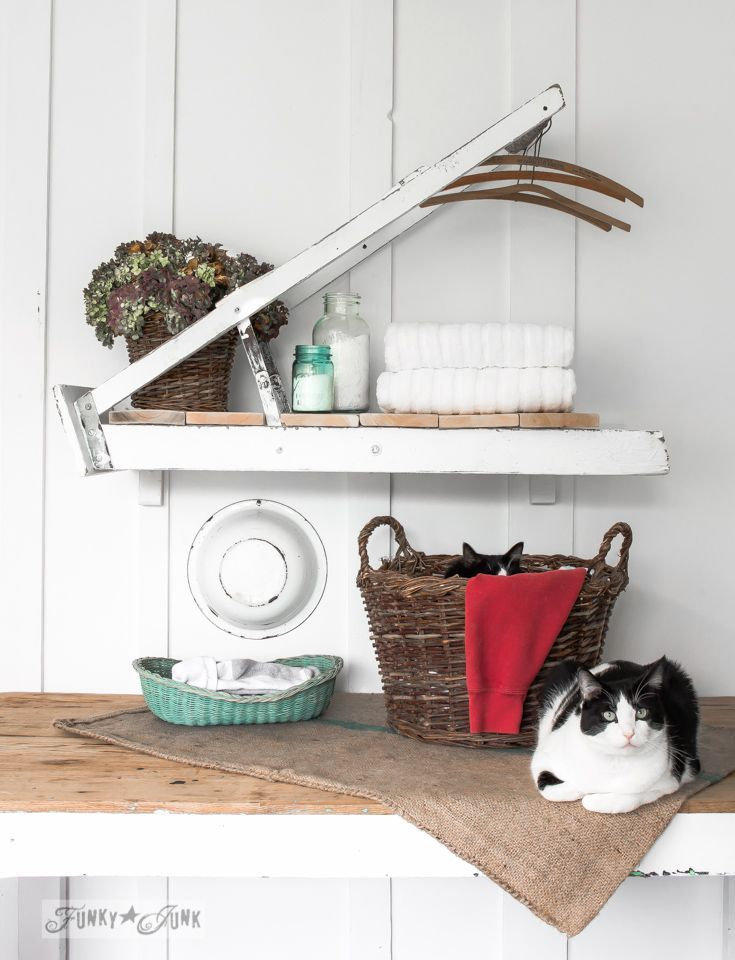 What does a rickety ladder and two cute cats have in common? They landed in a magazine! A ladder laundry room shelf for Country Woman Magazine to be exact!