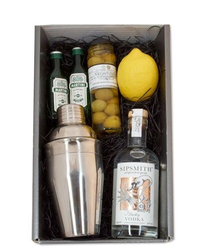 DIY cocktail kit. Same theme but with food staples and maybe a kitchen tool like spiralizer. :)