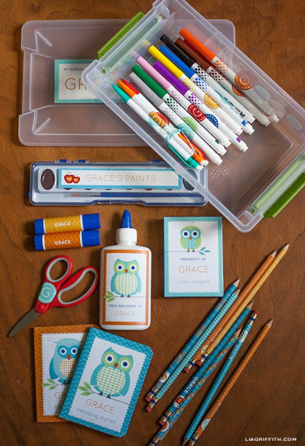 DIY School Supplies You Need For Back To School - Personalized School Supply Labels - Cuter, Cool and Easy Projects for Teens, Tweens and Kids to Make for Middle School and High School. Fun Ideas for Backpacks, Pencils, Notebooks, Organizers, Binders http://hicksmedia.wpengine.com/diy-school-supplies