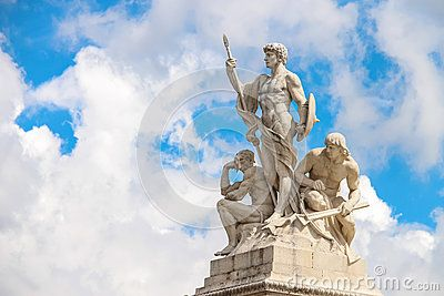 Statues in a monument to Victor Emmanuel II. Rome, Italy