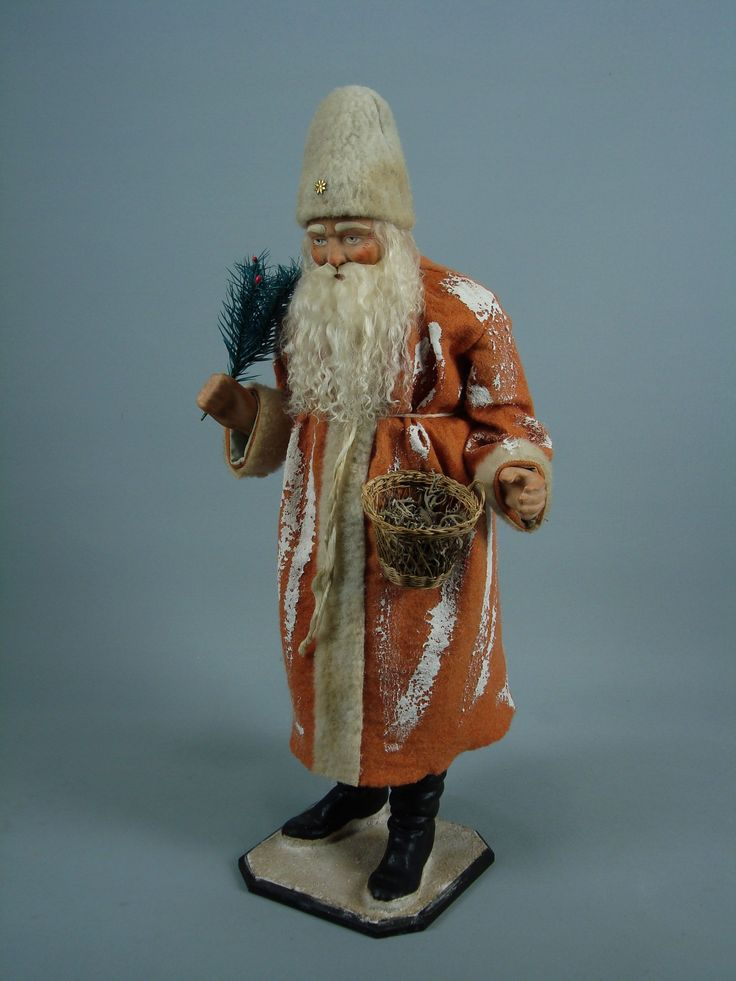 20 german paper mache santa candy container hand made by for Paper mache christmas