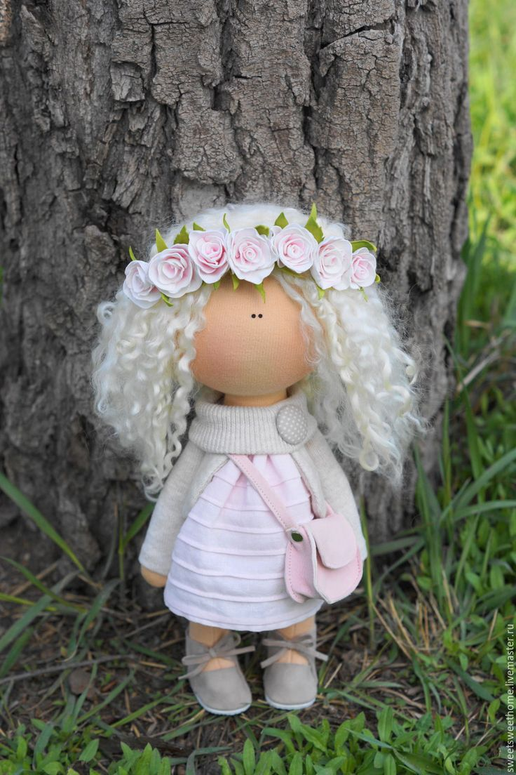 Купить Весна - бледно-розовый, куколка, малышка, куколка ручной работы, текстильная кукла