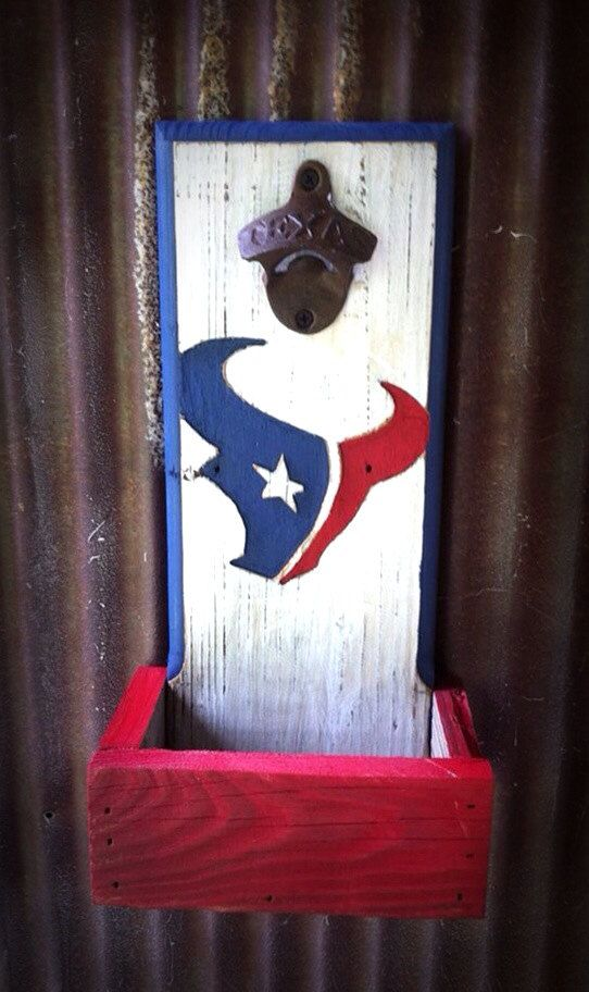 Houston Texans bottle opener with cap by TreyColeCreations, $37.00