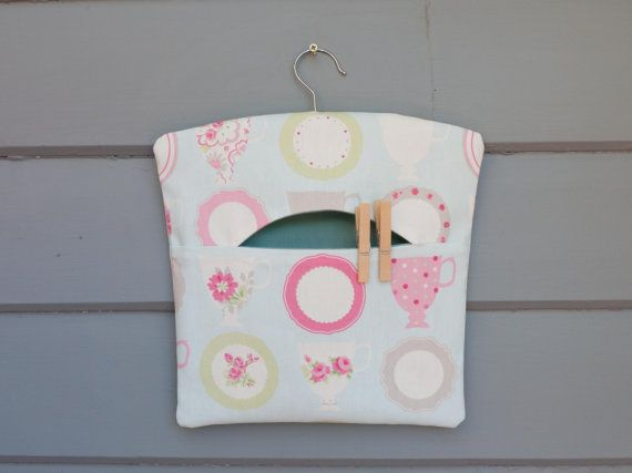 Vintage style peg bag/clothespin/knitting/crochet by freshdarling