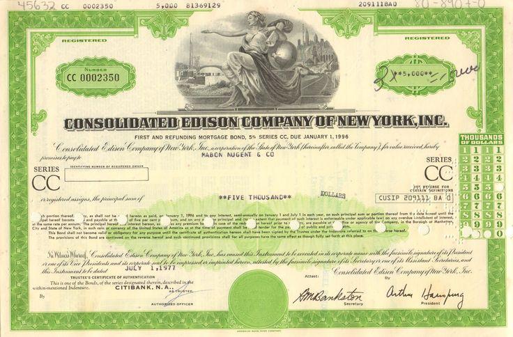 Consolidated Edison Company of New York bond 1970's - Version 2 Con Ed