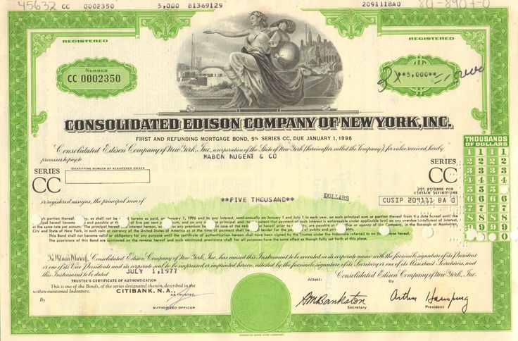 Consolidated Edison Company of New York bond 1970's - Version 2 Con Ed