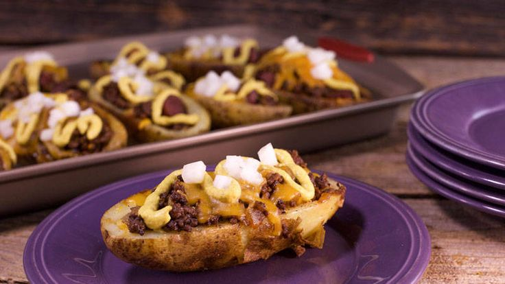 Serve your pals these chili cheese dog potato skins and it won't matter who wins or loses.